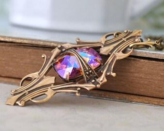 VINTAGE SPARKLE,  vintage Swarovski ab effect honey topaz  jewel necklace in antique brass