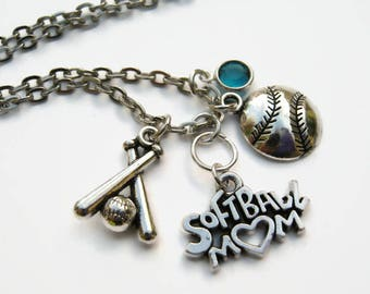 Softball Mom Necklace, Personalized Birthstone Jewelry, Varsity Neckace, Sports Athletic Necklace, Choose Length, Mothers Day Gift