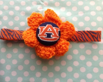 Crochet Auburn Tigers Flower Headband/Christmas Stocking Stuffers/Valentines Day Gift/Easter Basket Gift/Newborn-Adult
