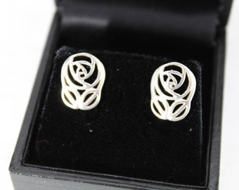 Ortak silver earrings. Charles Rennie Mackintosh style Art Nouveau  earrings by Malcolm Grey of Ortak. good condition with original box.