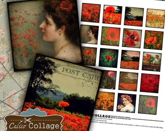 Sweet Poppies Collage Sheet 1.5x1.5 Image Sheet for Pendants Decoupage Jewelry Mixed Media Art Altered Art Journaling Calico collage Images
