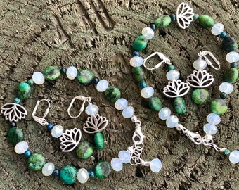 Women's Silver Plated Lotus Jasper, Glass Bracelet & Drop Earrings Gift for Her