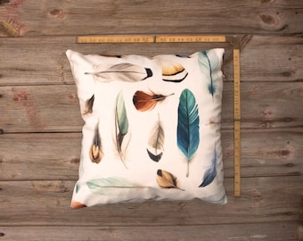 Watercolour Feather Pillow Cover (square) - Super soft and cozy velveteen, with zipper!  Artwork by Alicia's Infinity