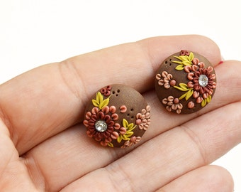 Spring Flower Stud Earring - Boutique Jewelry - polymer clay jewelry - Boutique Earrings - boho stud earrings - small gifts