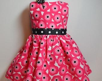 "Pocket Full Of Posies Dress for 18"" Dolls Pink Black Matching Barrette Fits AG Dolls"