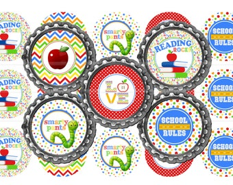 "Primary Back To School 1"" Bottle Cap Image 4""x6"" Digital Collage Sheet Instant Download 