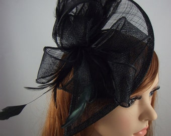 Black Teardrop Sinamay Fascinator with Feathers - Wedding Races Special Occasion Hat Funeral