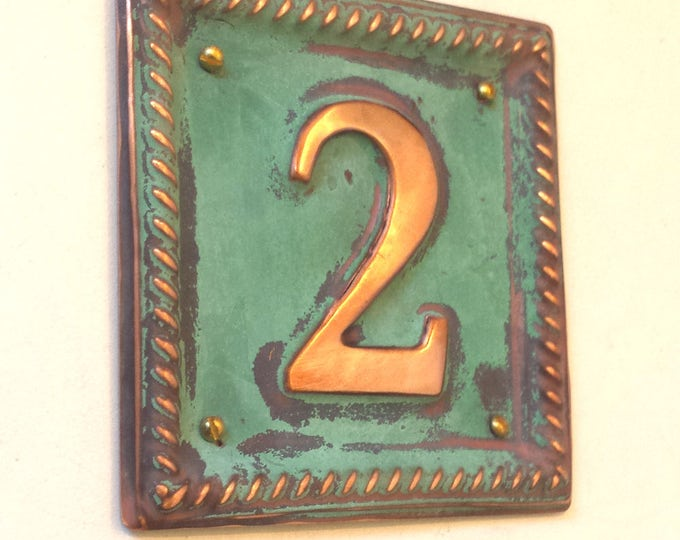 "Metal Address Plaque with barley twist frame 1 x 2""/50mm number  in polished and patinated copper sheet  g"