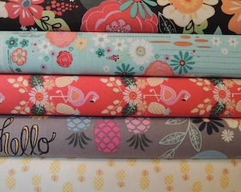 Rag Quilt Kit, Flamingo Fever Fabrics, Easy to Make, Personalized, Bin F, Sewing Available