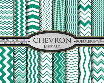 Emerald Green Chevron Digital Paper Pack - Instant Download - Digital Scrapbook Paper with Chevron Backdrop
