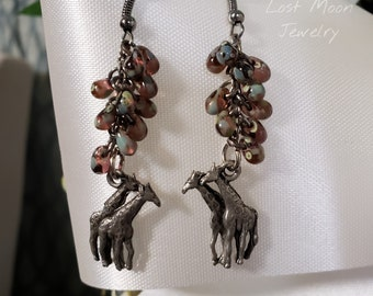 Pewter Giraffes and purple cluster glass drop earrings