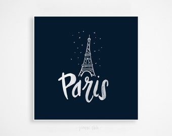 City of Paris Print: Handlettered Art, Brush Calligraphy, Eiffel Tower Illustration, Wall Art, Wall Decor