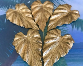Five Large Raw Brass Leaves