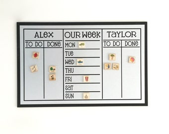 Chore Chart - 3 Section Large 13 x 20 Magnetic Chore Chart - Personalized with - 2-3 Names/Weekly Planner Option- With Optional Magnets