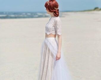 Alexandra - lace skirt / flyaway tulle skirt / lace and tulle skirt / bohemian bridal skirt / beach bridal skirt