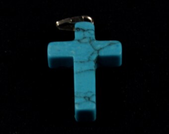 1x Turquoise Howlite Stone Cross w/ Silver Plated Bail - N035