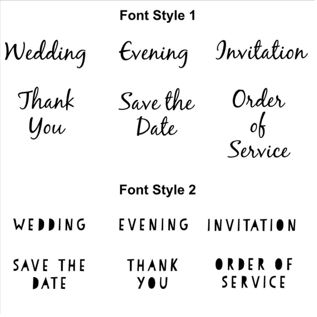 Wedding Invitation Rubber Stamps Various Fonts - DIY Bride Handmade ...