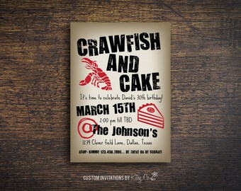Crawfish Boil Invitation   Birthday Party   Printable Digital File