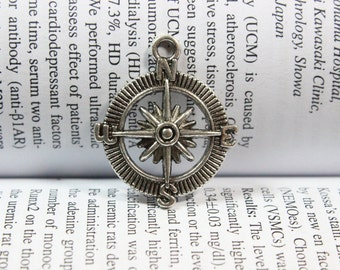 Compass Charm, Compass Pendant, Compass Connector, Nautical Style, Navy, Jewelry Making, Findings, DIY Supplies, 25mm