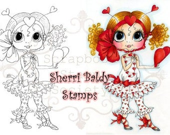 INSTANT DOWNLOAD Digital Digi Stamps Big Eye Big Head Dolls Digi  Valentina By Sherri Baldy