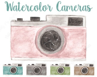 5 Watercolor retro cameras, clipart, camera vector, photography logo, hand painted clipart, No credit aquired