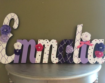 Over size Custom Kids Name Sign - Nursery Wall Letters Name Sign - Wood Wall Letters Cursive Style Large Size Name Sign