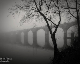 West Trenton Railroad Bridge in Morning Fog Black and White Photograph Delaware River Landscape Photography Reflection Bucks County Yardley