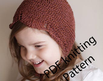 pdf knitting pattern, pdf knitting tutorial, baby bonnet, newborn bonnet, toddler bonnet, lace bonnet, knit pattern baby, knit pattern hat