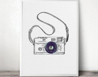 Sketch Wall Art - Minimal Home Decor - Photo Camera Print - Doodle On Photo - Collage Art - Photography Print - Photo Lenses - Digital Print