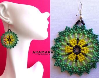 Round earring, Mandala Earrings, Mexican folk art, Mexican earrings, Mexican Jewelry, Native american earrings, Huichol Earrings, AR-0047