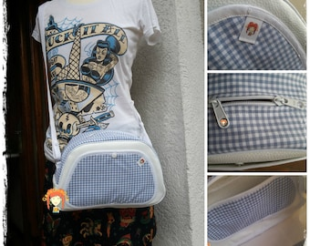 SakDeFille, fabrics blue gingham, handles or shoulder bag has