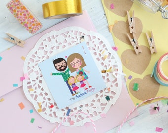 10 Packs of family cards /10 Packs of personalized Gift tags/ custom tags / Gift Packaging