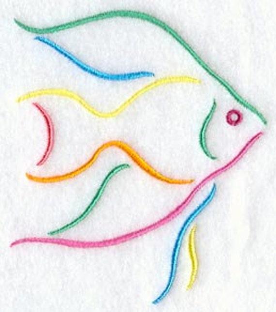 Decorative Machine Embroidered Angel Fish Design Towel