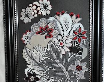 Shades of Gray Bouquet Mixed Media Fabric Art Wall Decor