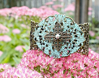 Ornate Brass and Patina Filigree Cuff Adjustable