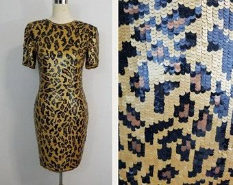 Animal Print Vintage Sequin Dress/ Modi/ Leopard/ Cheetah