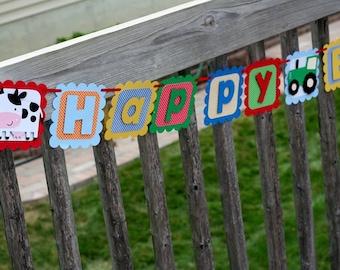 Farm Birthday Banner, barnyard birthday, farm birthday, farm baby shower, Farm Happy Birthday Banner, Farm Birthday, barnyard Banner, cow
