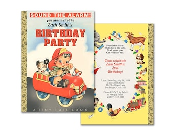 Fire truck storybook birthday party invitation / printable fireman book invitation / editable PDF / firefighter instant download invite