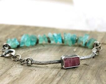 apatite tourmaline silver bracelet, raw apatite, raw tourmaline