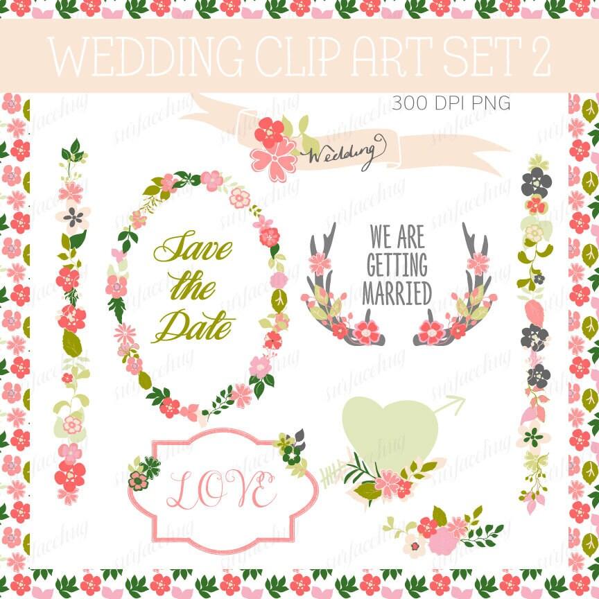 WEDDING INVITATION clip art, floral wedding invite Clip art wedding ...