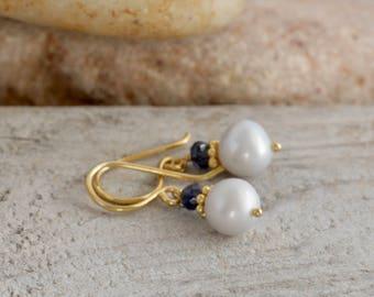 Pearl IOLITE Gold Vermeil Dangle Drop Pierced Earrings // hand crafted artisan jewelry // luluglitterbug