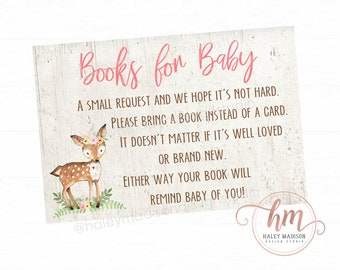 Deer baby shower Books for Baby cards, Book Request cards, Floral Deer baby sprinkle, Woodland baby shower book cards PRINTABLE FILE