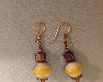Yellow African Recycled Paper and Sustainable Wood Earrings