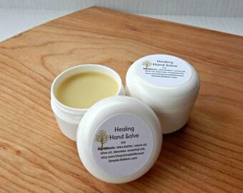 HERBAL HAND SALVE - 100% natural, organic hand salve ointment, essential oils, balm for dry feet, heels, knees, hands, winter or gardener