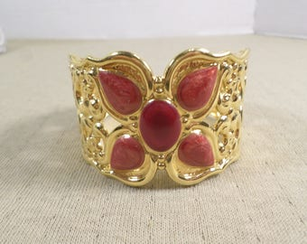 Beautiful Vintage Gold Tone Wide Scroll Work Ornate Cuff Bracelet With Enamel  DL#4828