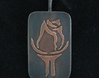 Pendant, stylized rose, etched copper with patina, v. 002