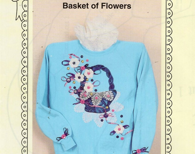 Ozark Crafts DOILY WEAR Basket of Flowers Quilt embellishment Applique 1994 Free Us Ship Out of Print Sewing Pattern Unused