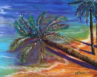 Palm Trees  beach  hawaii sand ocean original oil pastel 9 in. x 12 in.
