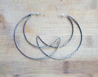 Sterling Silver Moon Hoops