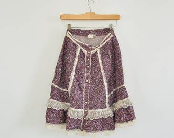 "Gunne Sax Calico Prairie Skirt Jeunes Filles (Young Girls) by Jessica San Francisco 26"" waist 1970's Boho Skirt Festival Skirt"